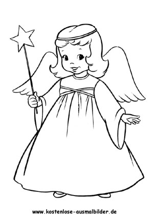 Engel Mädchen zum ausmalen als pdf ausdrucken